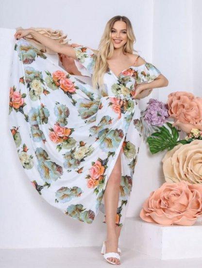 Длинное летнее белое платье сарафан на лето, фото 1