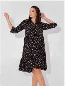 Летнее черное платье-сарафан до колен