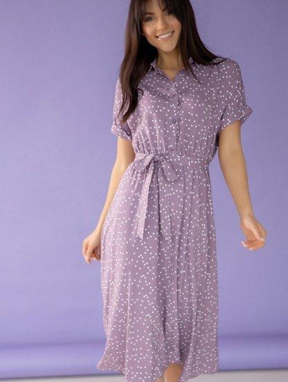 Легкое летнее короткое платье с воротничком-стоечкой в горошек сиреневое, фото 1