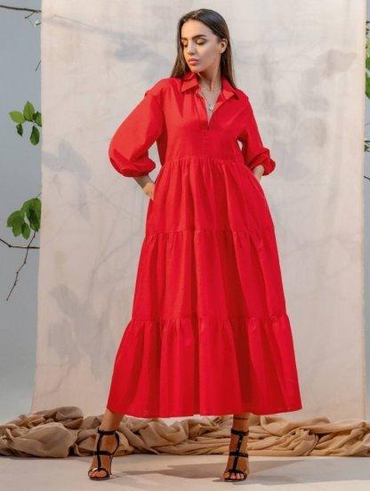 Летнее миди платье-рубашка с рукавом, оборками и воротом, фото 1