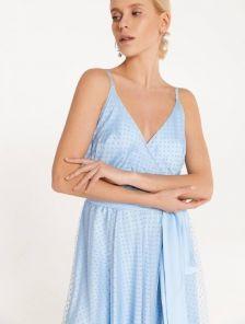 Праздничное легкое платье-миди на тонких бретелях, юбка-солнце, сетка в горошек