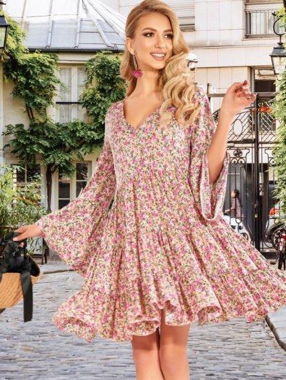 Весеннее свободное платье до колен, фото 1