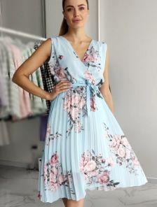 Летнее шифоновое платье с юбкой плиссе