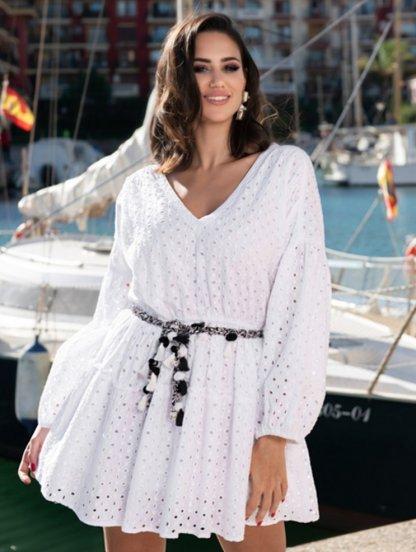 Летнее хлопковое платье на короткий рукав с цветочным кружевом, фото 1