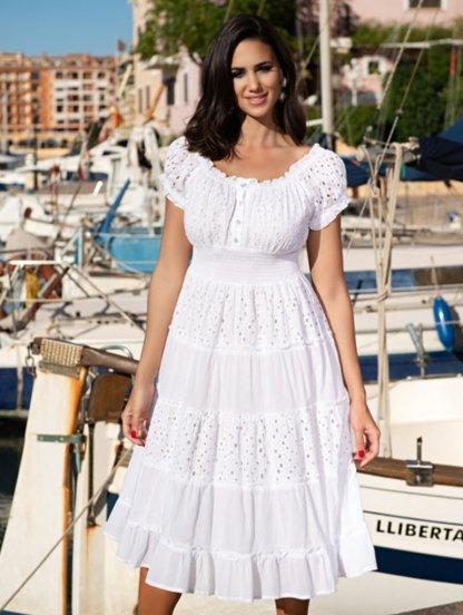 Летнее хлопковое платье ниже колен с прошвой, фото 1