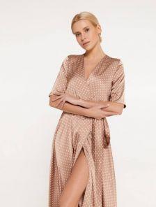 Шелковое легкое платье миди на короткий рукав и с юбкой-клеш