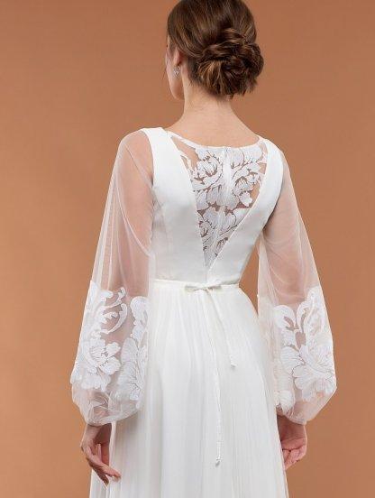Белое вечернее платье с воздушными рукавами и пышной фатиновой юбкой, фото 1