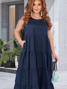 Летнее макси платье-сарафан с открытыми плечиками тёмно-синего цвета
