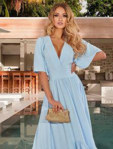 Длинное летнее нарядное платье с коротким рукавом, юбкой-солнце в пол. с оборкой