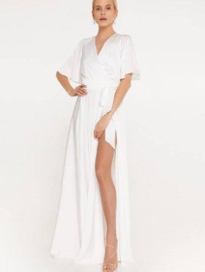 Нарядное шелковое белое платье в пол, юбка-солнце с разрезом, фото 1