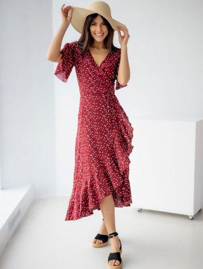 Воздушное платье на запах с рюшами красное, фото 1