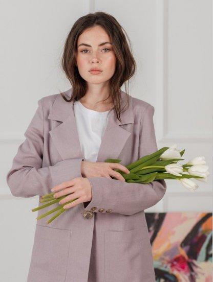 Стильный женский льняной пиджак с карманами, фото 1