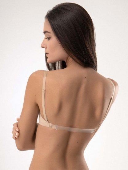 Гладкий бежевый бюст push up с силиконовой спиной