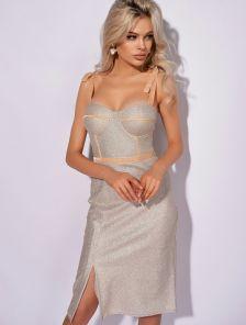 Вечернее светлое коктейльное короткое платье футляр