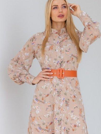 Легкое шифоновое бежевое платье с цветочным принтом, фото 1