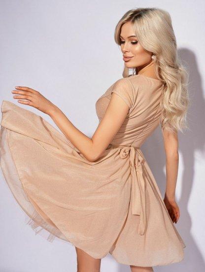 Вечернее светлое коктейльное короткое платье с широкой юбкой, фото 1