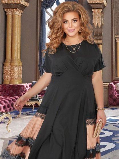Нарядное летнее платье в большом размере, с кружевом, свободной проймой, фото 1