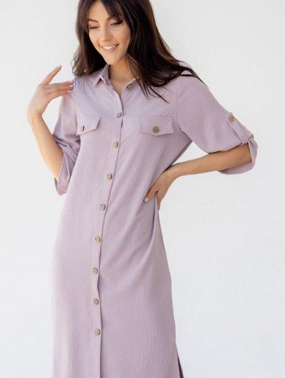 Летнее офисное стильное платье-рубашка миди длины, фото 1