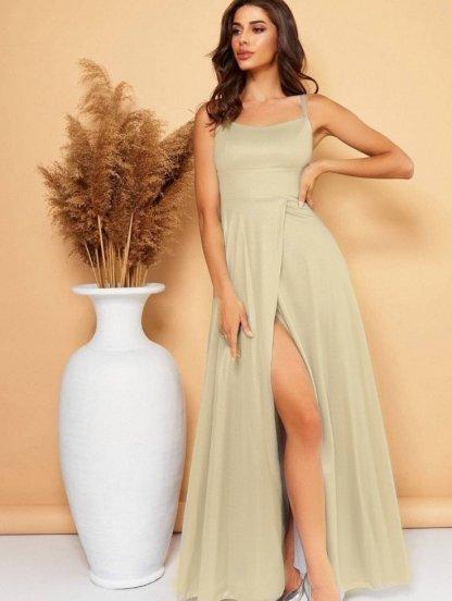 Блестящее длинное вечернее платье золотого цвета, фото 1