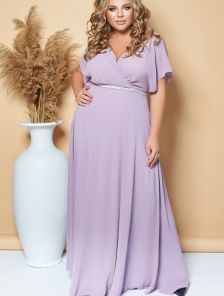 Вечернее нарядное шифоновое платье в пол большого размера
