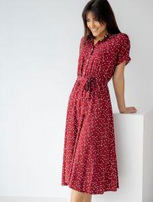 Легкое летнее короткое платье с воротничком-стоечкой в горошек