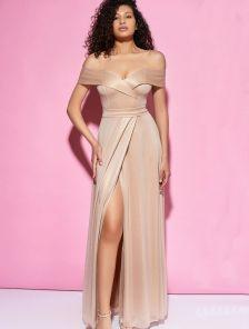 Золотое длинное блестящее вечернее платье на короткий рукав