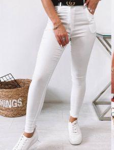 Белые женские брюки скинни с высокой талией
