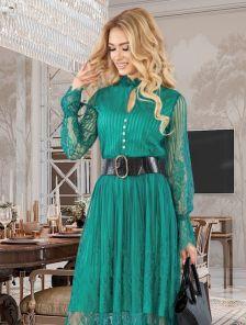 Изумрудное кружевное коктейльное нарядное платье с длинным рукавом