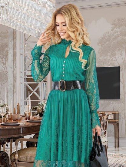 Изумрудное кружевное коктейльное нарядное платье с длинным рукавом, фото 1