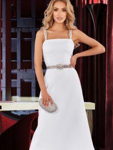 Нарядное белое короткое платье с красивой аппликацией