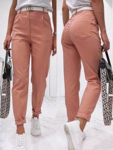 Пудровые широкие женские брюки с высокой талией