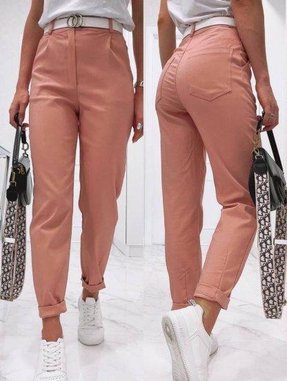 Пудровые широкие женские брюки с высокой талией, фото 1