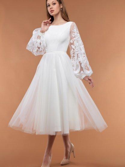 Нарядное белое платье с пышной юбкой и круглым вырезом, фото 1
