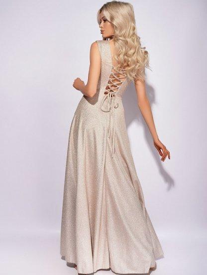 Золотое вечернее платье светлого цвета, фото 1