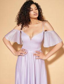 Нарядное лиловое вечернее платье в пол на тонких бретелях