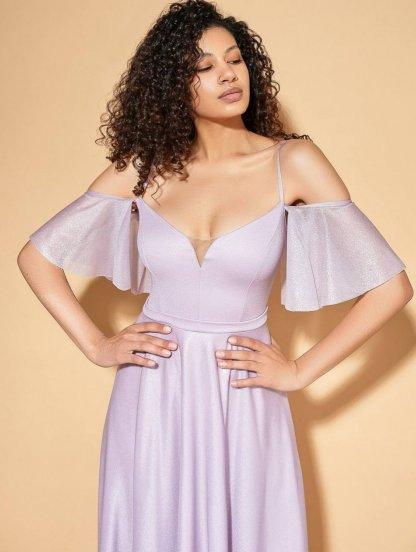 Нарядное лиловое платье в пол на тонких бретелях, фото 1