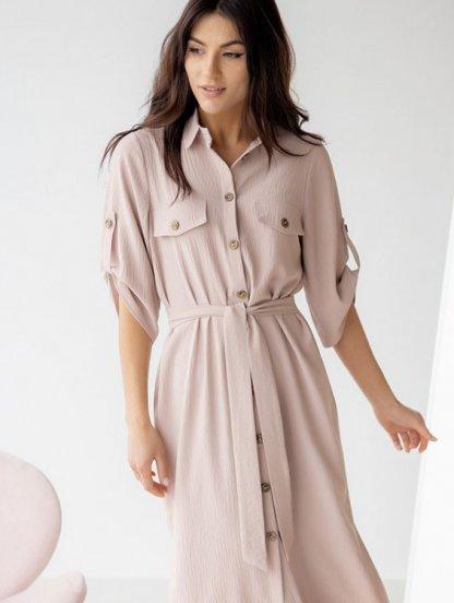 Летнее стильное платье-рубашка миди длины, фото 1