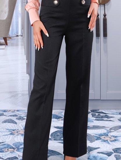 Чёрные декоративные брюки со стрелками и декоративными пуговицами, фото 1