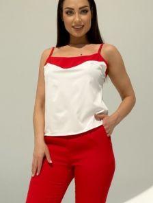 Летний брючный костюм тройка красного цвета на поясе