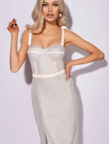 Вечернее белое коктейльное короткое платье футляр