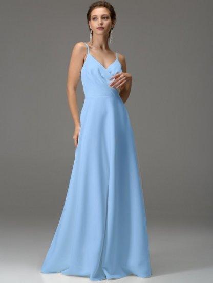 Голубое длинное платье с вырезом на спине, фото 1