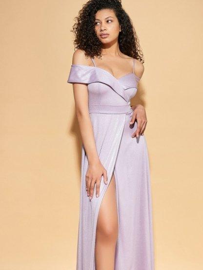 Светлое длинное блестящее вечернее платье на короткий рукав волан, фото 1