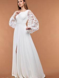 Белое свадебное длинное платье с кружевными рукавами и круглым вырзеом на роспись