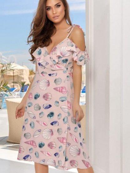 Светлое летнее платье миди на запах, фото 1
