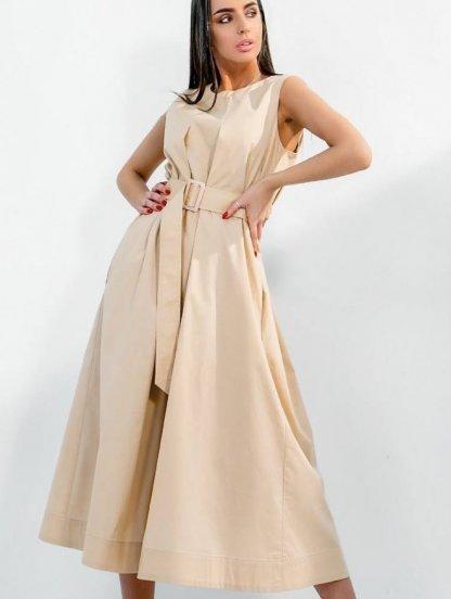 Короткое хлопковое светлое свободное платье-трапеция на подкладе с поясом, фото 1