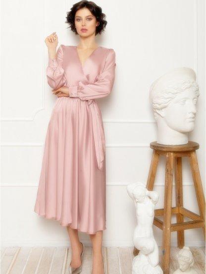 Нарядное пудровое шелковое платье миди на длинный рукав, фото 1