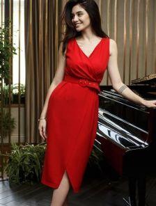 Красное платье на лето, миди