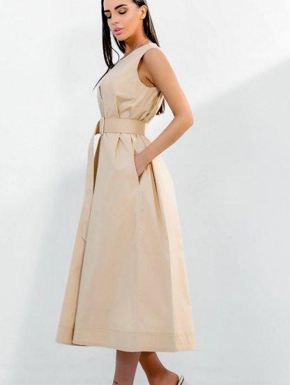 Хлопковое светлое свободное платье-трапеция миди длины, фото 1