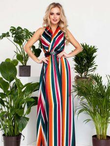 Шелковое платье в разноцветные полосы, макси-длины,с американской проймой