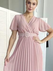Шифоновое летнее платье миди длины c юбкой-плиссе